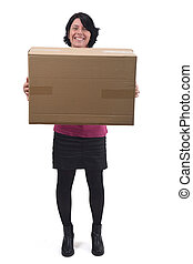 woman with package on white background