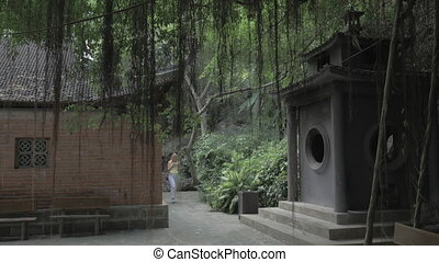 Woman with pad taking shots of pagoda in Vietnam