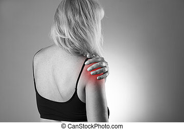 Woman with pain in shoulder. Pain in the  human body on a gray background