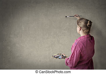 Woman with paint
