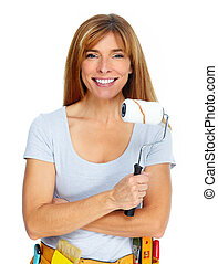 Woman with paint roller.