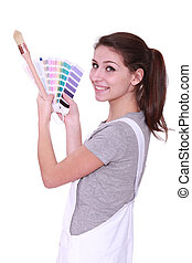 Woman with paint swatches