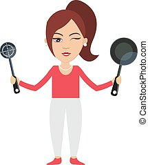 Woman with pan, illustration, vector on white background.
