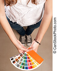 woman with pantone palette