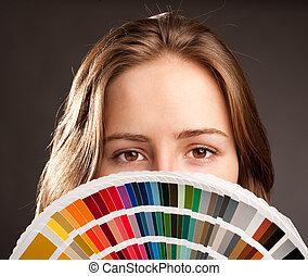 woman with pantone