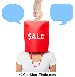 Woman with paper bag on the head - Young girl covering face...