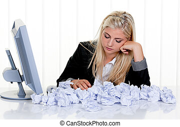 Woman with paper looks for ideas - Young woman with paper...