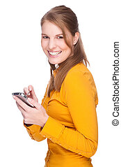 Full isolated studio picture from a young woman with pda (smartphone)