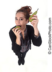 woman with pear on white background