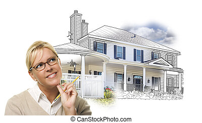 Woman with Pencil Over House Drawing and Photo on White