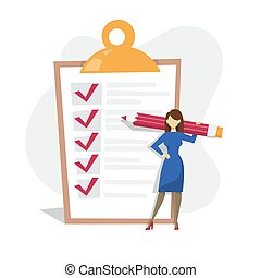 Woman with pencil standing at the big checklist