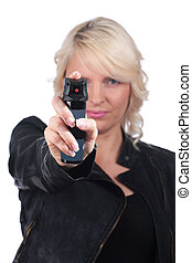 Woman with pepper spray for self defense