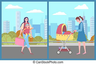 Mom and kid in city vector, female character carrying baby and bags flat style. Woman pushing perambulator with newborn kid sleeping, outdoors relaxation. City park, citizens with children in town