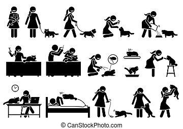 Woman with Persian cat pet stick figures.