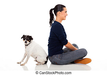woman with pet dog isolated in white