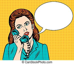 Woman with phone pop art style vector