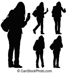 woman with phone vector silhouette - woman with phone vector...