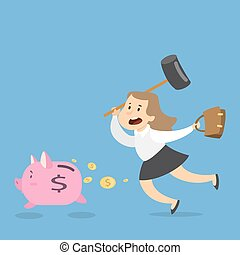 Woman with piggy bank.