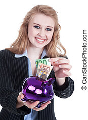 Woman with piggy bank smiling