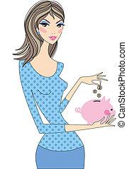Woman saving money with piggy bank, vector