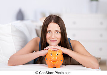 Woman with piggyback - Portrait of long hair woman in bed...