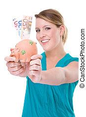 Woman With Piggybank