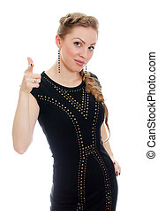 Woman with pigtail in black dress. Isolated on white.