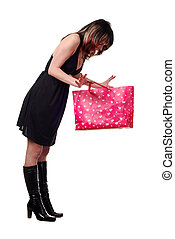 woman with pink bag