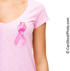 woman with pink cancer awareness ribbon