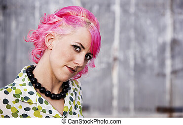 Woman with Pink Hair