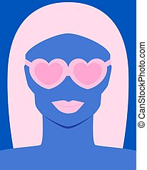 Woman with pink lips with glasses heart on a blue background. Vector illustration