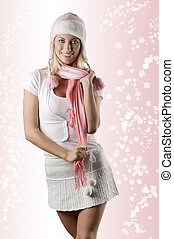 woman with pink scarf on white