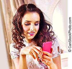 woman with pink smartphone