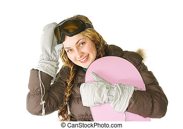 Woman with pink snowboard