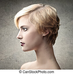 Woman with pixie cut - Blonde woman with pixie cut