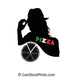woman with pizza vector