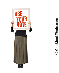 Woman with placard to vote, banner. - Ideal female protest ...