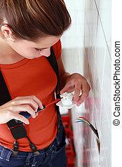 Woman with plug