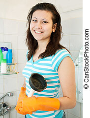 woman with plunger