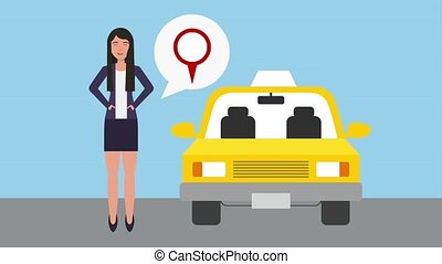 woman with pointer location service taxi