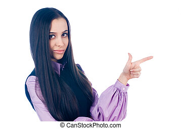 Woman with pointing finger