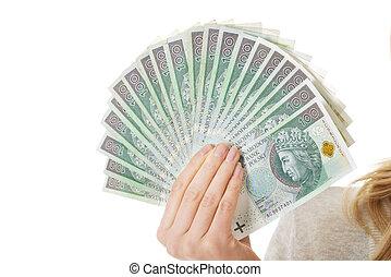 Woman with polish money