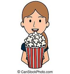 woman with pop corn character vector illustration design