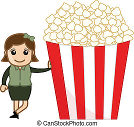 Woman with Popcorns Vector