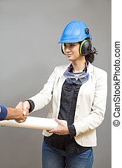 Woman with protective workwear