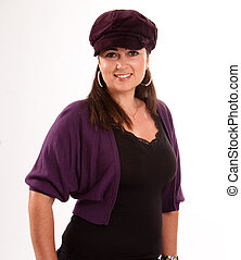 Woman with purple cap