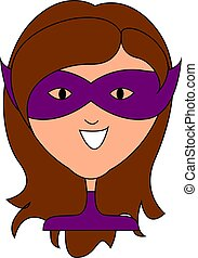 Woman with purple mask, illustration, vector on white background.