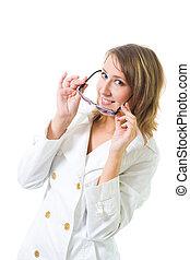 Woman with purple stylish glasses