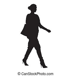 Woman with purse goes shopping, isolated vector silhouette....