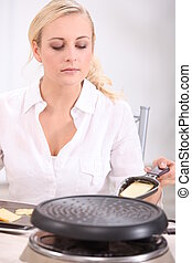 Woman with raclette
